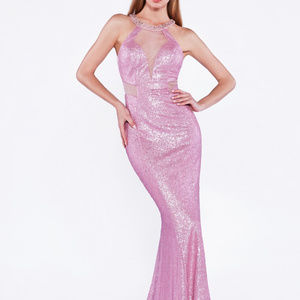 Long Beaded Sequined Evening Gown CDUR133